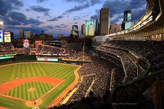 MN Twins Target Field with Downtown Minneapolis, MN Skyline View  Fine Art Prints available from $17.95