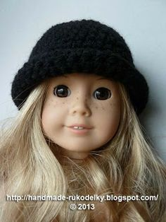 Crocheted Hat With Rolled Up Brim For American Girl Doll - Free Pattern: MY HAND MADE STUFF - MOJE RUKODELKY