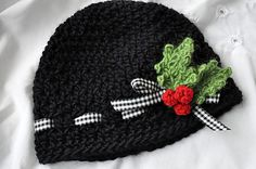 Ravelry: Holly Berries (Ribbon) Cap pattern by Mandy Sybrowsky $4