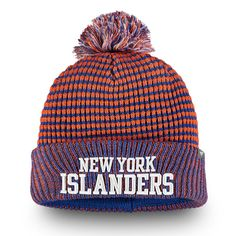 best loved c49f6 768b4 Men s New York Islanders Fanatics Branded Orange Royal Waffle Heavy Cuffed  Knit Hat With Pom,  24.99