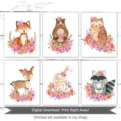 Woodland Nursery Girl Art, Woodland Floral Art, Woodland Girl Bedroom Art, Woodland Girl Prints, Floral Woodland Print Set, Forest Animals by PeanutPrintsBoutique on Etsy https://www.etsy.com/listing/480574154/woodland-nursery-girl-art-woodland