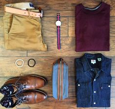 Today's outfit grid features three of my favorite things right now: denim boots and the color burgundy! #flatlay #flatlayapp #flatlays www.theflatlay.com