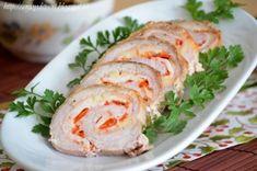 Rulada de porc cu ardei si cascaval afumat Carne, Fresh Rolls, Cookie Recipes, Sushi, Turkey, Appetizers, Keto, Yummy Food, Ethnic Recipes