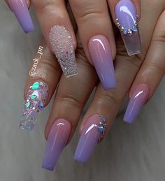 Beautiful Coffin Nails In 2019 To Inspire You – Acrylic Nails Purple Acrylic Nails, Summer Acrylic Nails, Best Acrylic Nails, Purple Nails, Acrylic Nail Designs, Ombre Nail, Red Nail, Pastel Nails, Spring Nails