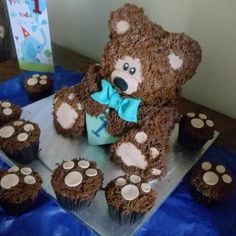 teddy Bear Cake and Cupcakes