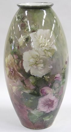 Bischoff hand painted floral decorated vase depicting Holyhocks, signed and dated reportedl. on Apr 2006 Fine Porcelain, Porcelain Ceramics, Painted Porcelain, Vintage Pottery, Pottery Art, Hollyhocks Flowers, Rose Vase, Antique Paint, China Painting