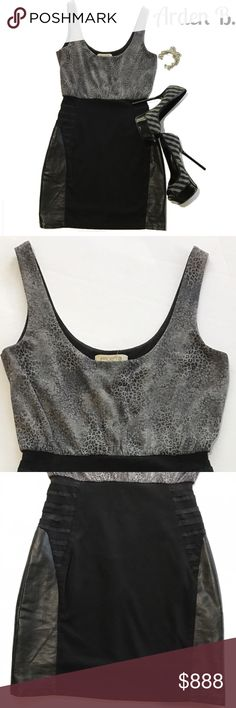 """NWOT Arden B. Animal Print Bodycon Arden B. Bodycon Top Half is Silvery Gray Animal Print while Lower Half is Black with Faux Leather/Satiny Panels 💋 Closure on Back is Silvertone Zipper. Measuements Are Flatlay: Bust- 16.0"""", Hips- 16.0"""", Length- 23.5"""" from Top of Shoulder to Hem Arden B Dresses Mini"""