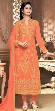 Suprising Orange Georgette Straight Suit With Dupatta.