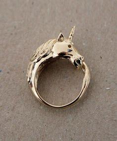 gold unicorn ring