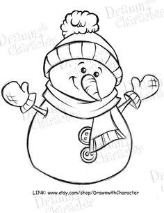 Happy Snowman Digital Clip Art/ KopyKake Image by DrawnbyKrista Coloring Pages For Kids, Coloring Sheets, Coloring Books, Kids Coloring, Fairy Coloring, Snowman Coloring Pages, Christmas Coloring Pages, Christmas Colors, Christmas Crafts