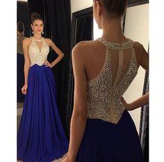 Women's 2017 O-Neck Royal Blue Chiffon Beadings Prom Dresses,Hot Long A-Line Evening Dresses,Teens Fashion Evening Gowns PD271