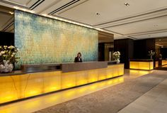Setai Fifth Ave Hotel reception - blow torch oxidized copper tile mural