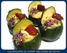 CALABACINES AL VAPOR RELLENOS DE SETAS