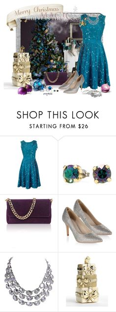"""""""Christmas Magic"""" by exxpress ❤ liked on Polyvore featuring Polaroid, Kate Spade, Vivienne Westwood, Monsoon, Lord & Taylor, Erica Lyons, teal, xmas, onebackground and bigpicture"""