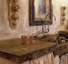 When I say Shabby Chic this is what I'm referring to. It is like a Country Shabby Chic Industrial look. It is a modern twist on the Shab. Concrete Countertops, Kitchen Countertops, Concrete Sink, White Concrete, Laminate Countertops, Kitchen Sink, Rustic Elegance, Rustic Style, Rustic Charm