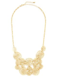 Brighten It Up Necklace. Illuminate your look by splashing on the gleaming discs of this gold statement necklace! #gold #modcloth