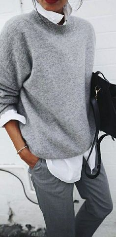 Women Clothing Fashion & Style Inspiration: Fall Outfit Idea - Different Shades Of Grey. Women ClothingSource : Fashion & Style Inspiration: Fall Outfit Idea - Different Shades Of Grey. Looks Street Style, Looks Style, Fall Outfits For Work, Winter Outfits, Fall Outfit Ideas, Mode Outfits, Casual Outfits, Fashion Outfits, Modest Fashion