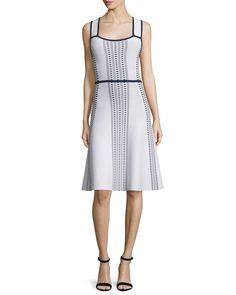 Ohne Titel Sleeveless Fit-and-Flare Dash Dress, White/Navy