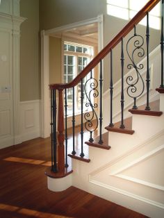 Fitts Stair Parts Wrought Iron Balusters -Options Avail Wrought Iron Stair Railing, Iron Balusters, Staircase Railings, Banisters, Staircase Diy, Floating Staircase, Staircases, Interior Stair Railing, Stair Railing Design
