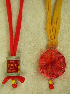 Set of TWO ISU Iowa State University College Sports Cardinal & Gold Necklaces with Pop Tabs Thread Spool T Shirt Beads Fun Fur Yarn Red Knot by AlisasArtEveryday on Etsy