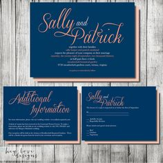 Sally and Patrick Wedding Invitation Suite - Set of 25 on Etsy, $74.00