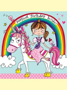 Unicorn and Princess Jigsaw Birthday Card