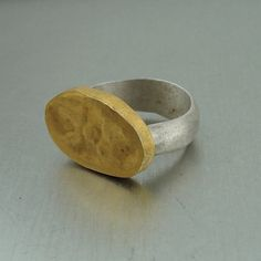 24k gold silver seal ring