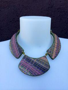 https://flic.kr/p/oXXNxY | Neckpiece | Woven pattern brass wire swarowsky bicones