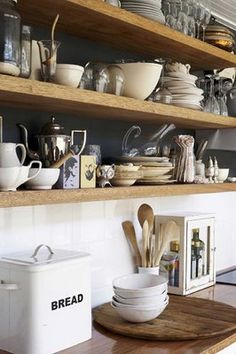 open shelves, wood & white