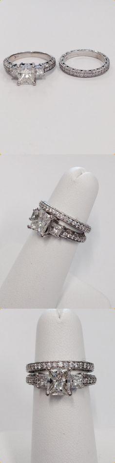 Breathtaking 2.50 carat Princess cut center diamond in a beautiful bridal ring set with matching wedding band
