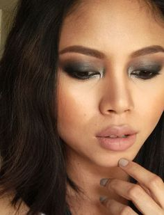 smokey eye makeup. Nude lipstick. Covergirl Mascara, Metallic Eye Makeup, Smokey Eye Makeup, Bobbi Brown Corrector, Mac Face And Body, Waterproof Eyeliner Pencil