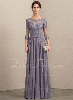 2aa3228bf8e A-Line Scoop Neck Floor-Length Chiffon Lace Mother of the Bride Dress With