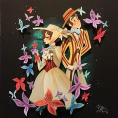 Mary Poppins and Bert paper art