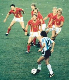 Diego Maradona is among the greatest soccer players to have ever played the game. This photo from the 1982 World Cup shows him going up against six Belgian defenders. This sums up how many saw Argentina's teams of the period: Maradona vs. the world. Four years later Maradona would win that match up and lead Argentina to a World Cup victory.