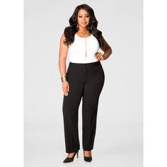 Ashley Stewart The Power Pant - Average (€76) via Polyvore featuring pants, womens plus pants, petite pants, plus size petite pants, fitted pants en white trousers