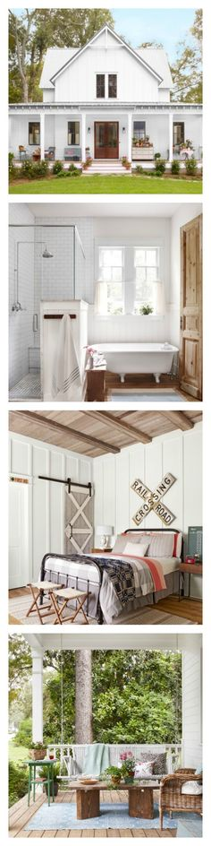 One block off Main Street in a small, picturesque Georgia town, one couple discovered the perfect lot to Country Farmhouse, Modern Farmhouse, Farmhouse Decor, Country Barns, Small Farmhouse Plans, Modern Country, Farmhouse Design, Apartment Decoration, Sweet Home
