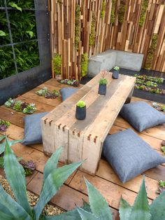 Scaffold Board Deck and Furniture. Garden designed by Jade Goto Landsape Studio.  Furniture  Construction by Reuben Kyte.