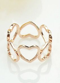 Gold Hollow Hearts Ring