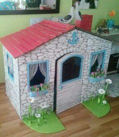 A Playhouse with Cardboard Boxes - Cardboard Houses For Kids, Cardboard Box Crafts, Cardboard Playhouse, Cardboard Crafts, Diy Crafts Slime, Diy And Crafts, Diy For Kids, Crafts For Kids, Girls Dollhouse