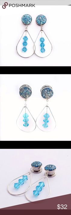 Blue Crushed Glass Dangle Plugs Orders are Made & Shipped in 1-2 business days  A pair of absolutely beautiful silver plugs with blue crushed glass featuring a silver tear drop hoop and blue gems inside. These grab the light and show gorgeous texture and shine.  These plugs have a back that screws off making the easy to put in and not worry about them falling out.  Shown is a 1/2 inch plug using the larger teardrop and 3 gems (used on sizes 00g to 1 inch). The teardrop is about 1 inch wide…