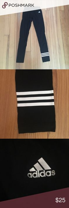 Adidas Leggings Adidas soft, back leggings are very comfortable and stylish. They are decked out with the adidas embellishment on the bottom of the left foot. They can be perfect to complete an aerobic workout or to dress up as a style icon. They have been barely used. Adidas Pants Leggings