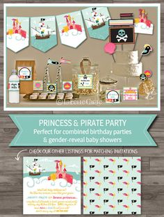 Princess Pirate Gender Neutral Birthday Party Pack