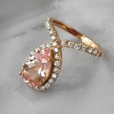 Pink Morganite and Diamond Dress Ring. Perfect for a modern day princess.