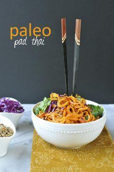 Paleo Pad Thai with Carrot and Sweet Potato Noodles // via Nosh and Nourish #paleo #vegetarian #recipe #nutfree
