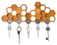 Honeycomb Magnetic Key Holder - A Unique Bamboo Wall Mounted Hook And Decorative Wooden Storage Rack Magnetic Key Holder, Wooden Key Holder, Wall Key Holder, Key Holders, Unique Key, Bee Creative, Bee Honeycomb, Bamboo Wall, Key Rack