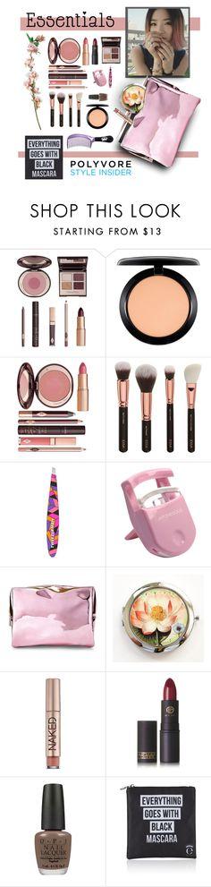 """Makeup Bag Essentials"" by fernshadowstudio-com ❤ liked on Polyvore featuring beauty, Charlotte Tilbury, MAC Cosmetics, Tweezerman, Japonesque, Forever 21, Urban Decay, Lipstick Queen, OPI and Eyeko"
