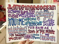 A Drop in the Ocean Lyric Drawing on Etsy, $5.00