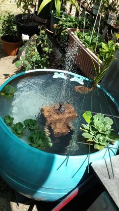 Nice Completely Recycled Plastic Drum Fish Pond With Solar Water Pump And Water  Feature