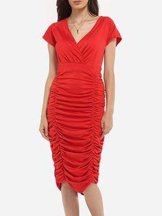 Asymmetrical Hems V Neck Dacron Plain Bodycon Dress