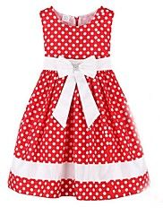 Girl's Red Dot Bow Party Pageant Wedding Children Clothes Lovely Dresses